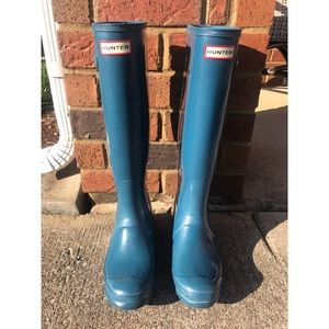 Hunter Boots Tall (Blue Gloss)